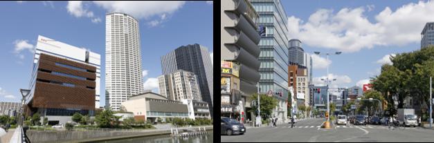 ▲(左)朝日放送社屋とタワーマンション(右)浄正橋交差点