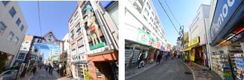 駅の東西に2つの元気な商店街が延びており、買い物に便利