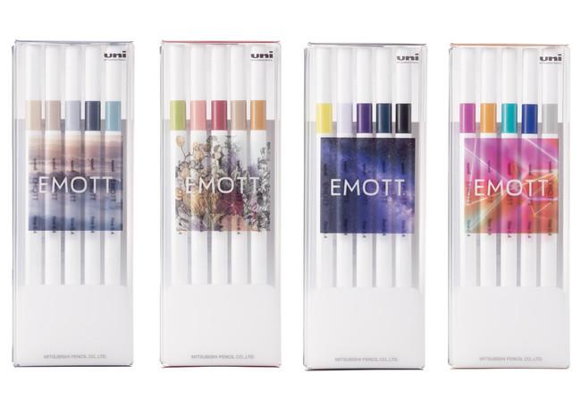 『EMOTT(エモット)新5色セット』 左から:ニュアンスカラー、ボタニカルカラー、ミッドナイトカラー、バーチャルカラー