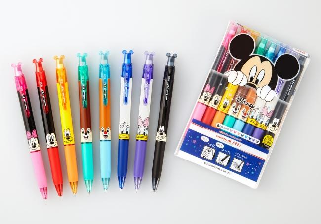 ユニボール RE 極細0.38mm/ディズニーシリーズ 8色セット  (C)Disney