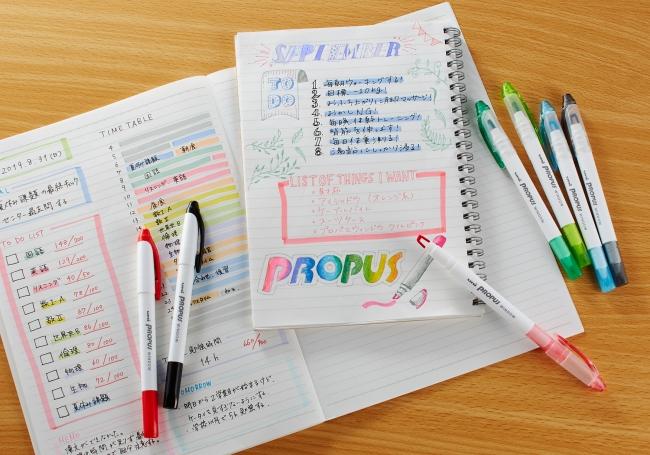 マーキング用途と文字書き用途で新商品を使用したノートのイメージ