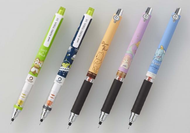 『クルトガ ディズニー&ディズニー/ピクサーシリーズ』 左から: CDハグ(チップとデール)、ALプラネット(エイリアン)、 PHシャイ(くまのプーさん)、ARフレンド(アリエル)、DBスマイル(ダンボ)