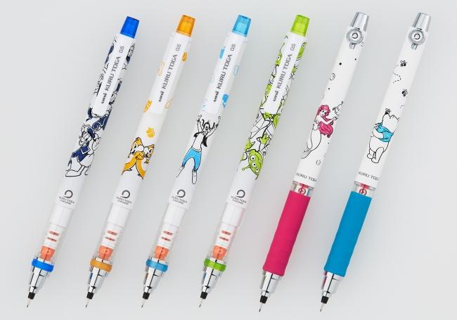 『クルトガ ディズニー&ディズニー/ピクサーシリーズ』 左から: DLペイント、CDナッツ、GFハット、ALグループ、ARトーク、PHビー
