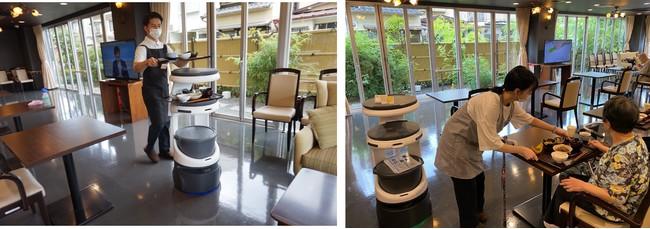 「グランメゾン迎賓館京都嵐山」食堂にて体験を行うインターン生と入居者の様子
