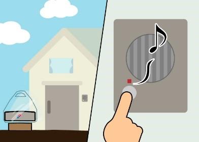 2. ドライバーは配達先に到着後、玄関先に持参したポータブルボックスを置き、その上に商品を載せます。 その後、インターフォンでピザの到着をお知らせします。