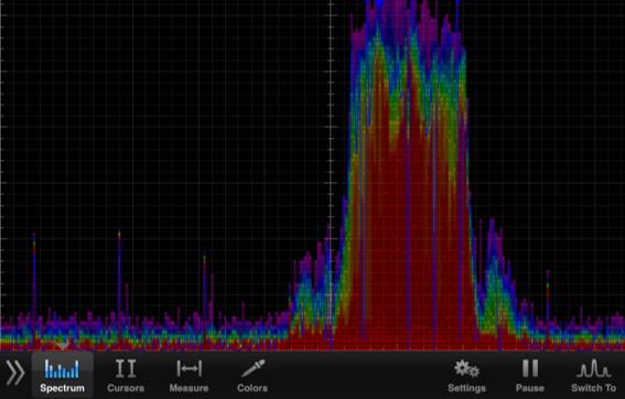解析画面のキャプチャ(サンプル) RAWデータ 処理前のスペクトルデータを表示し、青色の波線で可視化されます。