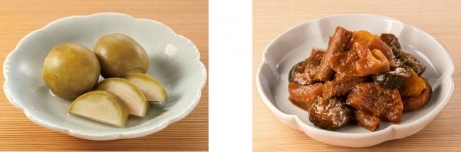 左:岡山 清水白桃ピクルス 右:大江戸甘味噌漬 四種の野菜
