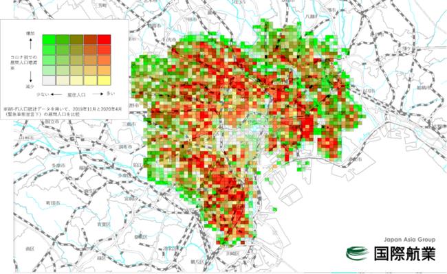 [図-1]Wi-Fi人口統計データを用いた集客ポテンシャルマップ(全25ランク表示)