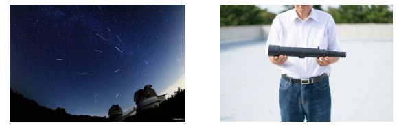 (左から、ペルセウス座流星群・天体望遠鏡 クレジット:国立天文台)