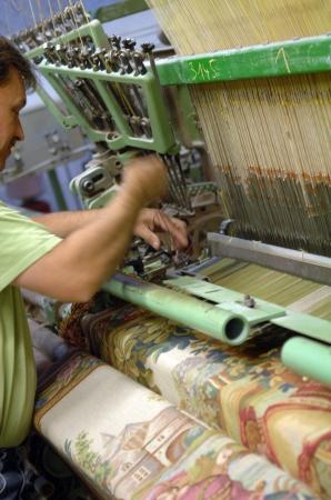 タペストリーの織り風景