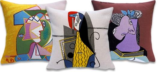 タペストリーの織り技法を生かしたクッション(ピカソ)