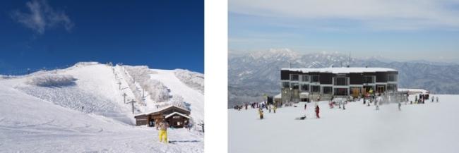 バーから見える写真左:うさぎ平ゲレンデ、右:「うさぎ平テラス」外観
