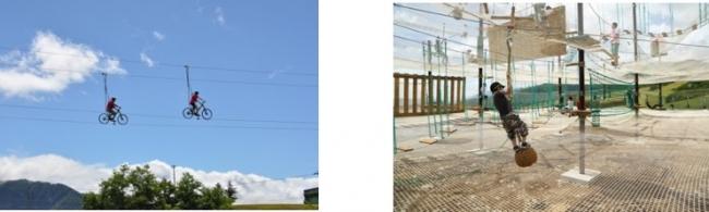 写真左:空中自転車綱渡り「コギダス」、右:三層式ネット型アクティビティ「アミダス」