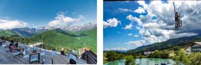 写真左:【HAKUBA MOUNTAIN HARBORイメージ】、右:【空中自転車綱渡り「コギダス」】