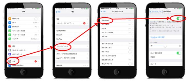 iPhoneでのボイスオーバー設定の方法