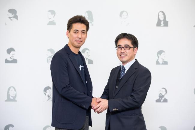 株式会社カオナビ 代表取締役社長 柳橋仁機(左)と楽天技術研究所 代表 森正弥氏(右)