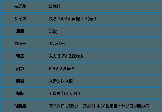 「オゾンペン」スペック表