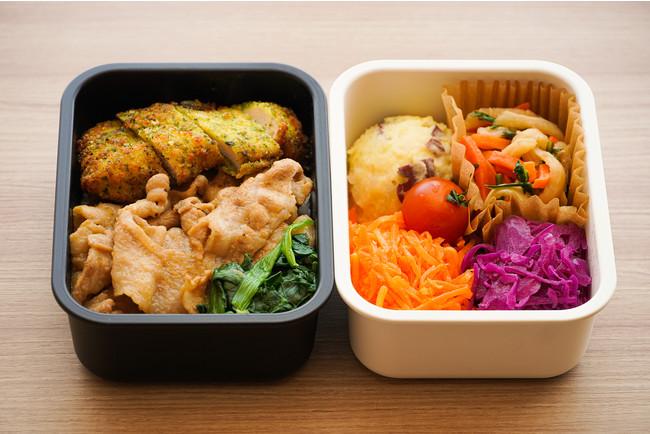 生姜焼き丼と塩麹でマリネしたチキンカツ+4種のデリ