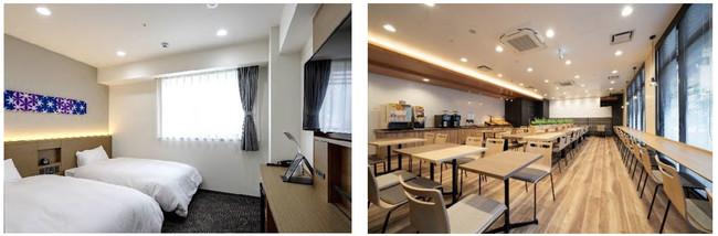 ▲ツイン客室内装(左)と朝食スペース(右)