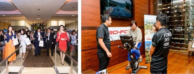 (写真左)グランドハイアット東京のフレンチキッチンにて東京ロードショーの様子 (写真右)インターコンチネンタル大阪にてGoogle ストリートビューを使ってモナコの街の風景を見ながら、「PRO-FORM®」 Studio Bike Proでスポーツ体験