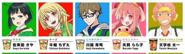 5人の擬人化キャラクター(J5)