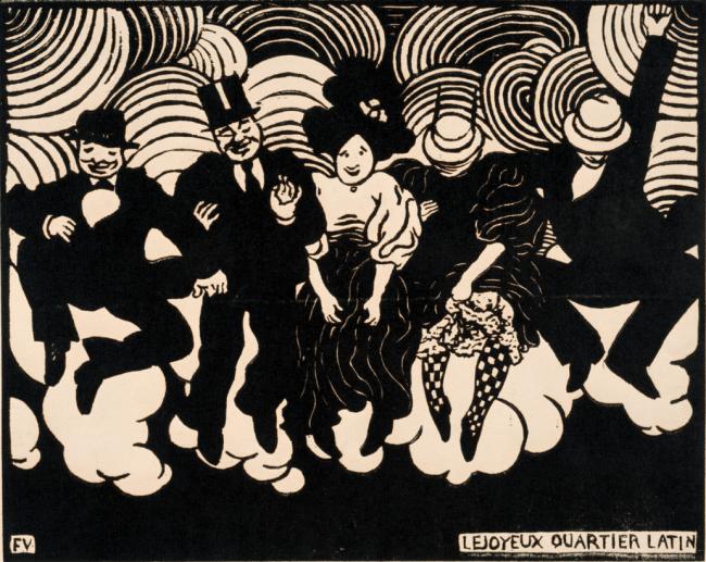 フェリックス・ヴァロットン 《愉快なカルティエ・ラタン》1895年 木版 17.9 x 22.4cm  三菱一号館美術館 ※「開館10周年記念 画家が見たこども展」には出品されません。