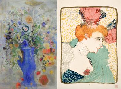 左:オディロン・ルドン 《グラン・ブーケ(大きな花束)》 1901年 パステル/カンヴァス 右:アンリ・ド・トゥールーズ=ロートレック《マルセル・ランデール嬢、胸像》 1895年 リトグラフ/洋紙 いずれも、三菱一号館美術館所蔵