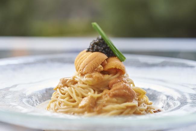 フィオレンティーナ「北海道産ウニの冷製カッペリーニ キャビア添え」
