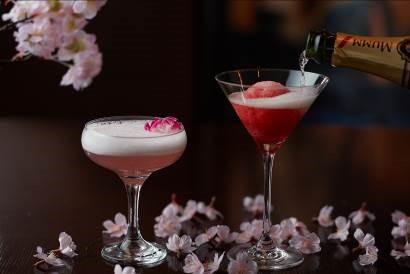 桜色カクテル「桜」(左)桜のシャンパンソルベ(右)