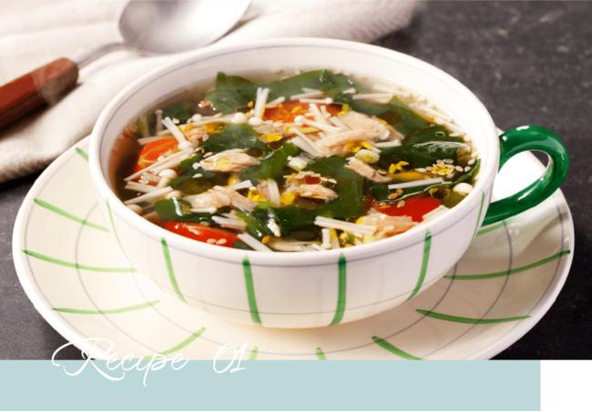 Atsushiさん考案レシピ「わかめとツナ、トマトのスープ」