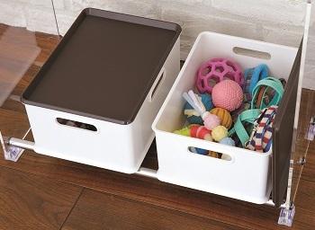 ふた付きで見た目もスマートな収納ボックスは2 個セット。