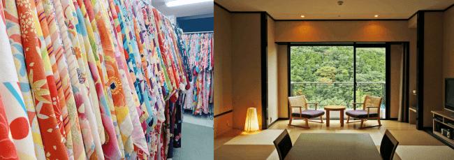 様々なデザインから選べる浴衣           和室スーペリア