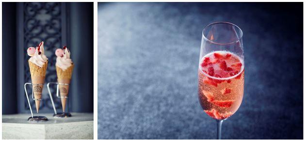 ガーデンソフトクリーム(苺ミント)/苺入りスパークリング ロゼ