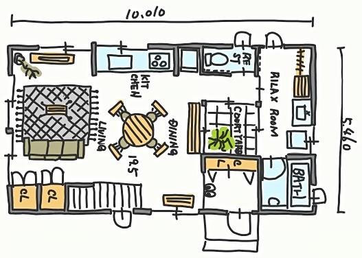 「中庭にキュンとするお家」間取り図
