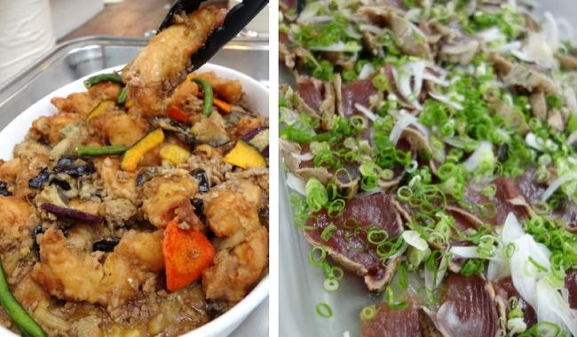 鶏天と高知県産なすの炒め物、鰹のタタキ