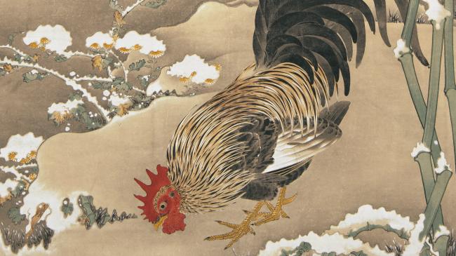 伊藤若冲箸 雪中雄鶏図(部分) 細見美術館 蔵