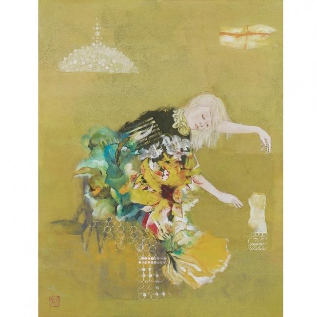 水野 淳子 「記憶の中のうたたね」 <サイズ:10号P、紙本・彩色>