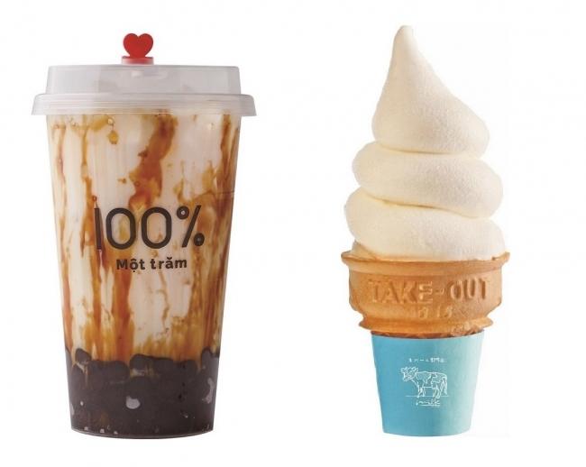 (左)生タピオカ専門店 モッチャム/沖縄黒糖ミルク(右)生クリーム専門店ミルキーソフトクリーム