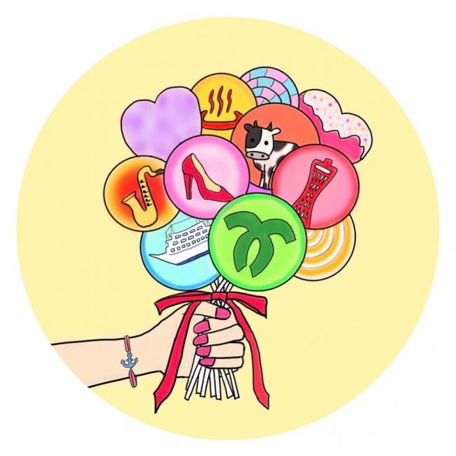 @my.sweet.kobeのアイコン(株式会社merchu制作)は、神戸を表すシンボルを一つ一つキャンディの中に埋め込み、sweetなテイストを表現