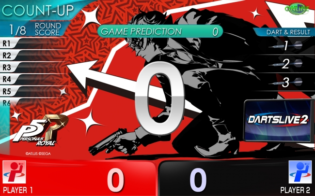 ゲームプレイ時に表示され、BULL、D-BULL、Triple20エリアに刺さった際にはエフェクト画像と共にモルガナの声を聞くことできます