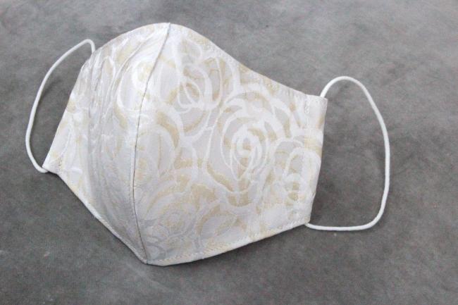 西陣織マスク Rose (white)