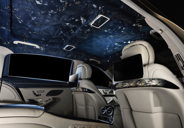 "Kiwakotoが提供する伝統工芸技術を用いた車の外装・内装のオーダーメードサービス""Craft-car""の一環でメルセデス・マイバッハの天井全体にKYOGOのオリジナル西陣織生地を提供した時の例"