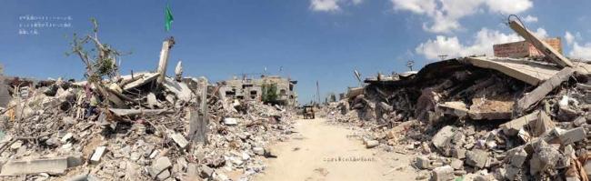 『ガザ 戦争しか知らないこどもたち』より 瓦礫の壁が続く風景