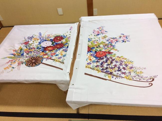Yuzen旅音に使用されている襖の作業途中の様子