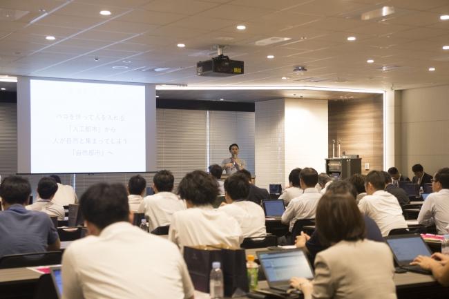 7月開催のスペースリーユーザーカンファレンスの基調講演(不動産テック協会武井浩三代表理事)の様子
