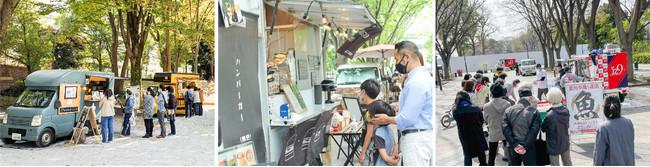 世田谷区内でのキッチンカー、店舗型モビリティ(鮮魚販売)出店の様子
