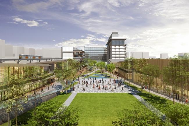 """JR立川駅北側 約3.9万㎡ """"空と大地と人がつながる、ウェルビーイングタウン""""新街区「GREEN SPRINGS」 2020年4月開業"""