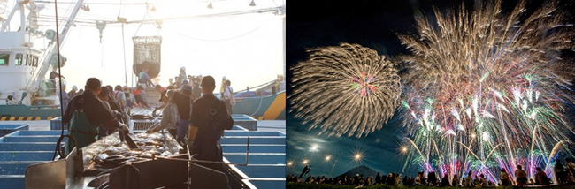 (左)気仙沼市の漁港 (右)大仙市の大曲の花火 いずれもイメージ)