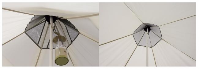 ポール1本で構成されるワンポール構造。組立てや撤収が簡単かつ耐風性にも優れている。ポール先端にはランタンフックを装備。テント中央にランタンの吊り下げが可能。