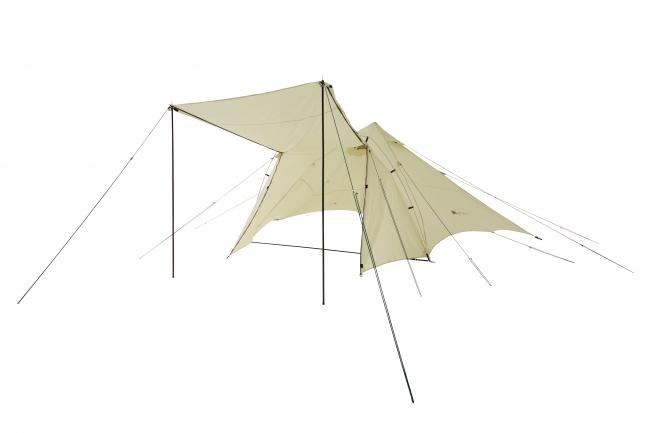 インナーテントを外せば大型タープとしても 使用可能。広々スペースで大人数にも対応し、 雨天時や真夏に大活躍。